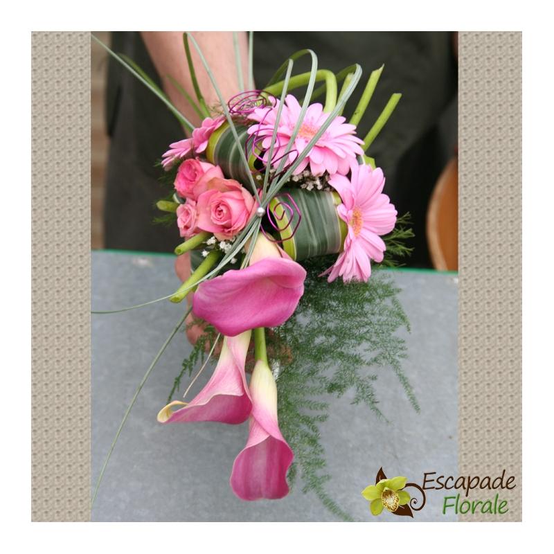 Bouquet de mari e cascade de calla rose escapade florale - Bouquet mariee rose ...