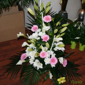 Devant de stèle pastel blanc et rose