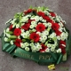 Coeur de fleurs blanches et rouges