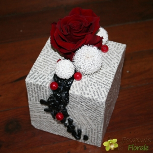 Rose éternelle rouge sur cube