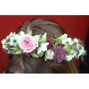 Serre tête blanc rose et prune