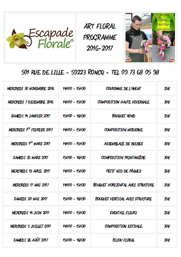 Planning 2016-2017 - cours art floral