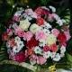 Coussin de fleurs coloris blanc rose et fushia - 2 tailles disponibles